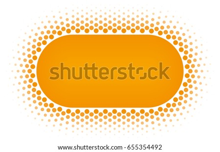 Orange Halftone rounded rectangle frame vector design element on white background. Halftoned Dots Flyer With Fade Effect. Half Tone Button with copy space.