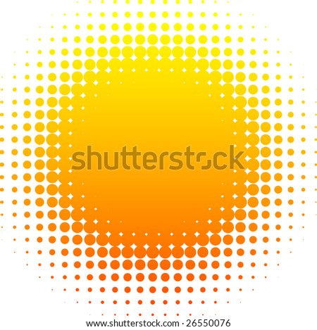 Orange halftone sun. Vector illustration. - stock vector