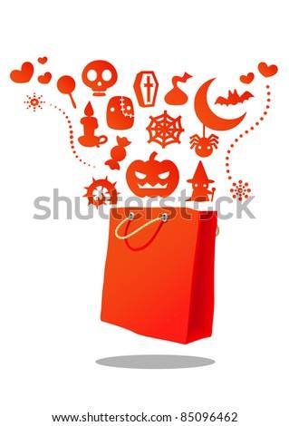 orange Halloween shopping bag - stock vector