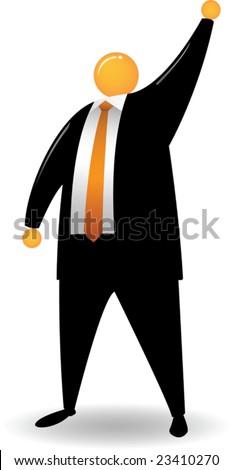 Orange Head with black suit raise his hand