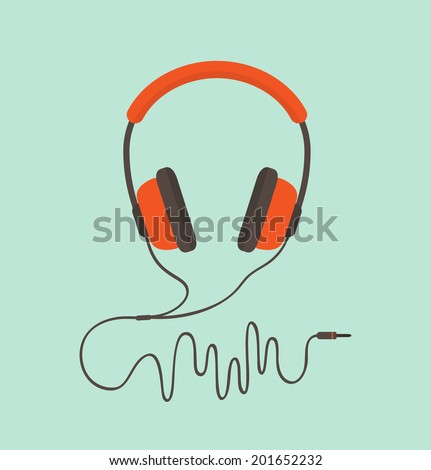 Orange headphones. Vector illustration