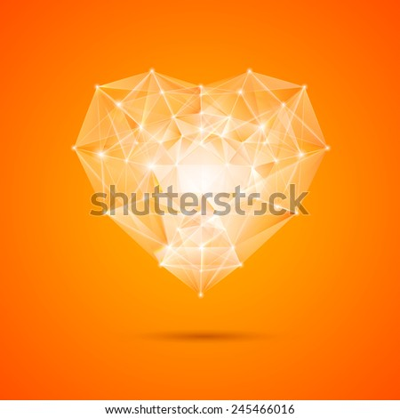 Orange heart gemxtone over orange bacground. Vector illustration.