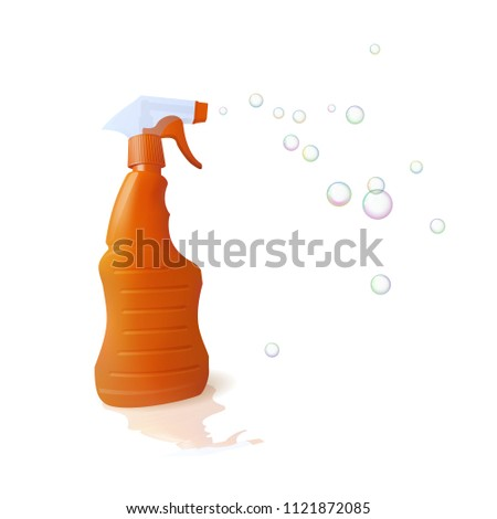 Orange housekeeping with detergent. Soap bubble. Cleaning and disinfection. Vector illustration