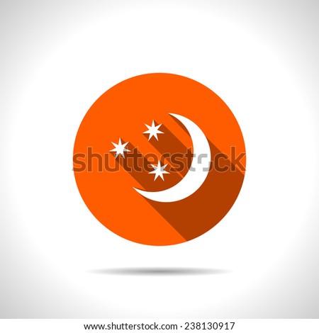 orange icon of starry night