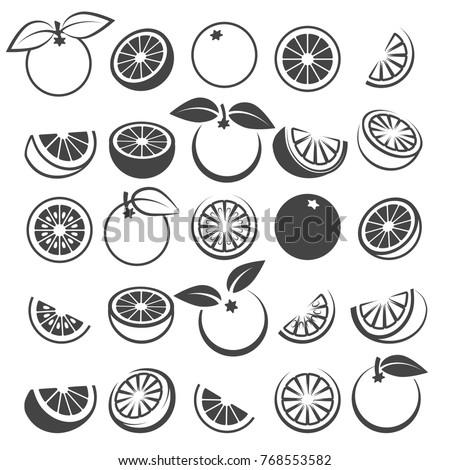 Orange icons. Tasty fresh vector black oranges fruits isolated on white background, citrus wedge, half and slices silhouette set