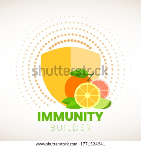 Orange Immunity builder or booster. Immune icon for food health info.