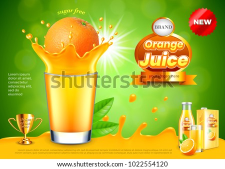 Orange in juice splashes ads. 3d illustration and packaging