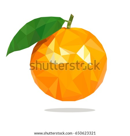 orange in low poly style on a