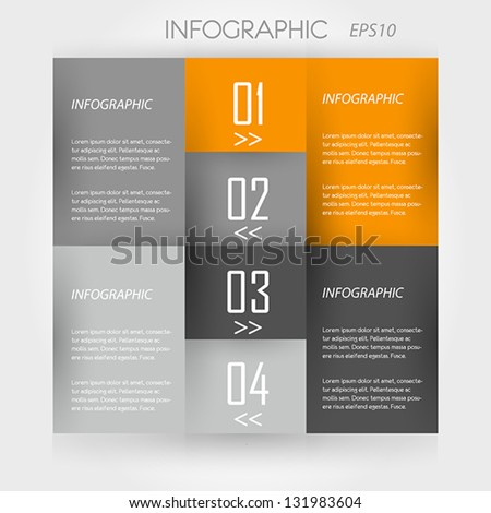 orange infographic 4 corners. infographic concept.