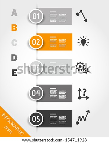 orange infographic stickers with buttons and icons. infographic concept.