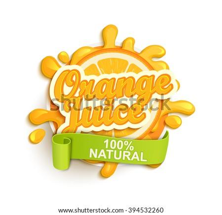 orange juece label splash blot