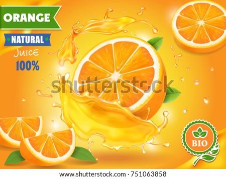 Orange juice advertising realistic design