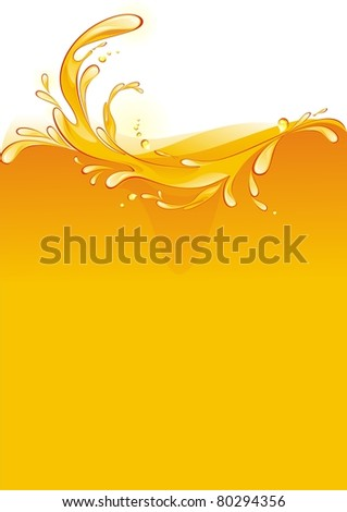 orange juice background. Splash. - stock vector