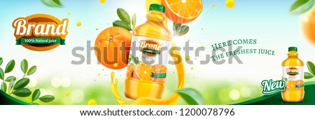 Orange juice banner ads with fresh fruit and swirling liquid on bokeh glittering background in 3d illustration