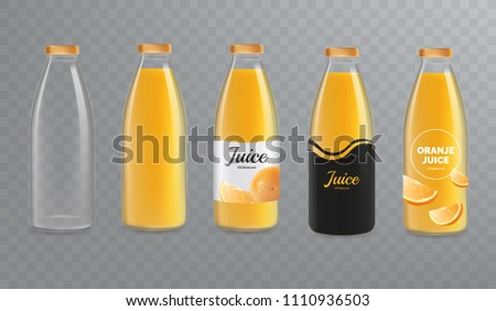 Orange juice bottle mockup. Vector glass bottle mock-up isolated on transparent background. Design of labels for juice. Vector eps 10.