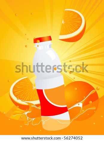 Orange juice bottle,  vector illustration, EPS and AI files included