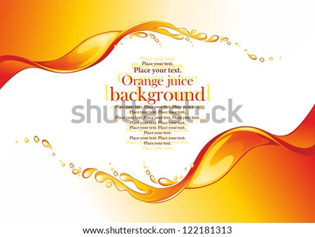 Orange juice frame Splashes Vector illustration