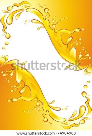 Orange juice frame. Vector illustration.