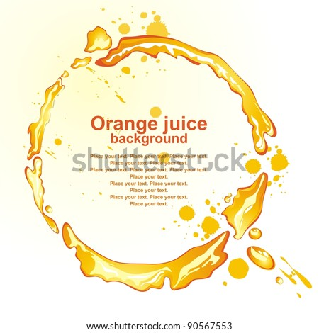 Orange juice frame. Vector illustration.