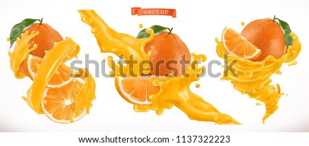 Orange juice. Fresh fruit 3d realistic vector icon