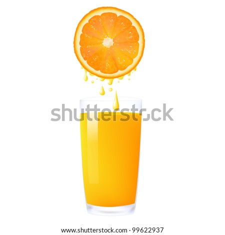 Orange Juice From Orange Into Glass, Isolated On White Background, Vector Illustration