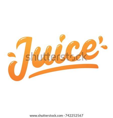 Orange juice, handwritten lettering with juicy drops. Isolated vector logo, modern hand drawn text.