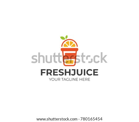 Orange Juice Logo Template. Juice Drink Vector Design. Fruit Illustration
