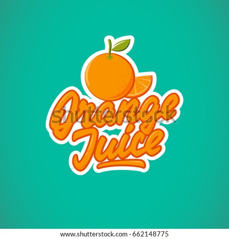Orange juice  logotype, badge, label. Vector illustration