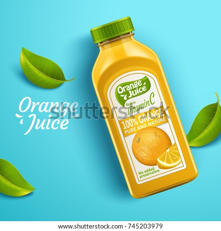 Orange juice package design, top view of juice bottle with label and green leaves isolated on blue background in 3d illustration