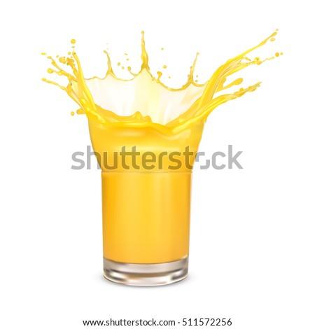 orange juice splash on a white