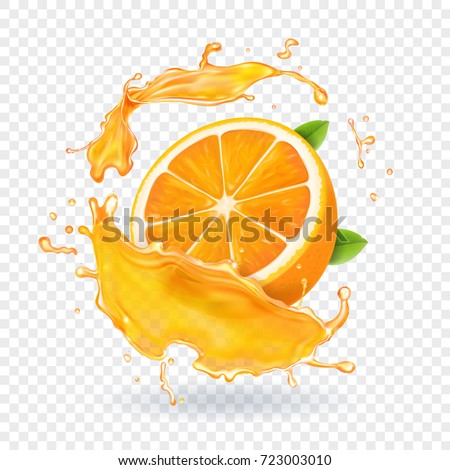 Orange juice splash. Realistic 3d fruit