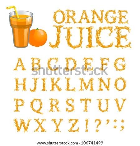 Orange juice splash special font, abc a-z capital headline letters, vector
