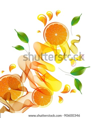 Orange juice splash with abstract wave, vector, eps10