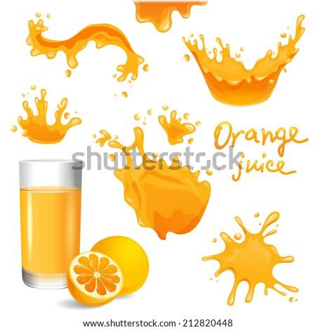 orange juice splashes set