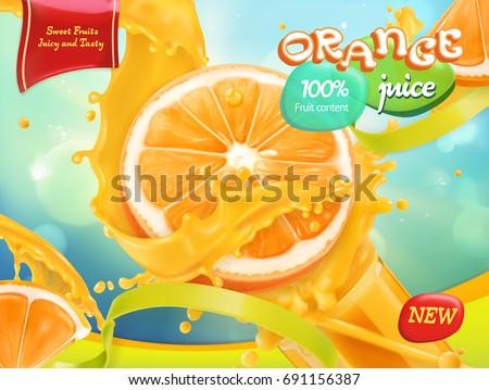 Orange juice. Sweet fruits. 3d realistic vector, package design