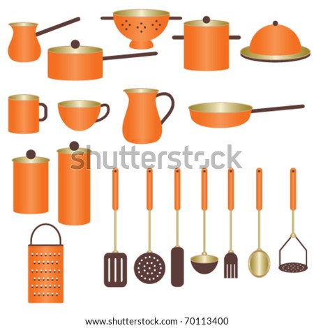 Orange Kitchen Utensils Stock Vector 70113400 : Shutterstock