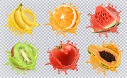Orange, kiwi fruit, banana, tomato, watermelon, papaya juice. Fresh fruits and splashes, 3d vector icon set.