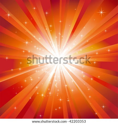 Orange light burst with sparkling stars