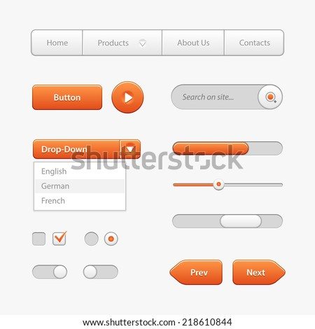 Orange Light User Interface Controls. Web Elements. Website, Software UI: Buttons, Switchers, Slider, Arrows, Drop-down, Navigation Bar, Menu, Check Box, Radio, Scroller, Input Search, Progress Bar