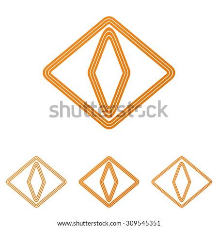 orange line cat eye logo design