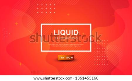 Orange liquid color background. Dynamic textured geometric element design with dots decoration. Modern gradient light vector illustration.