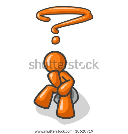 """Orange Man sitting on a rock in that familiar pose of """"The Thinker"""". If you put this on your design people will think you're smart."""
