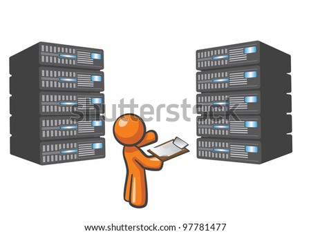 Orange Man standing beside server towers, checking them.