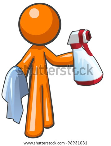 Orange man with a sanitation spray bottle and cloth, ready to work.