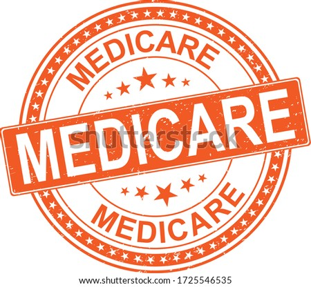 orange Medicare universal healthcare campaign stamp flat vector label for print and websites