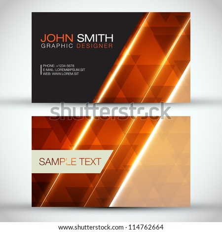 Orange Modern Abstract Business - Card Set | EPS10 Vector Design