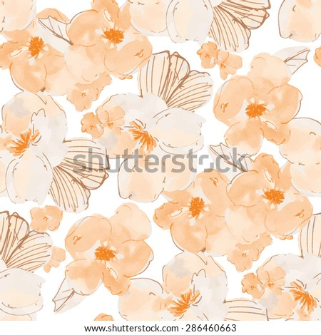 orange modern floral watercolor