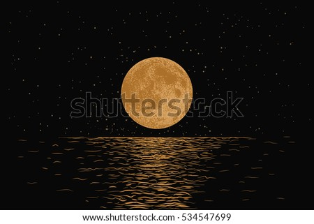 orange moon reflecting in a sea