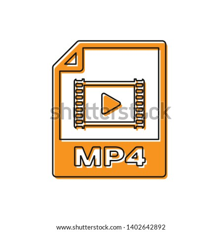 Orange MP4 file document icon. Download mp4 button icon isolated on white background. MP4 file symbol. Vector Illustration