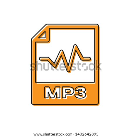 Orange MP3 file document icon. Download mp3 button icon isolated on white background. Mp3 music format sign. MP3 file symbol. Vector Illustration